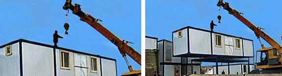 Установка строительных вагончиков, бытовок, контейнеров, гаражей и других каркасных конструкций